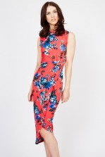 WalG Knot Tie Floral Coral Dress