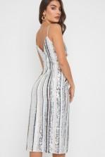 TFNC Sanita White/Nude Sequin Midi Dress