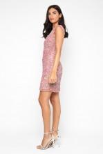 Lace & Beads Teardrop Dusty Pink Sequin Dress