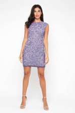 Lace & Beads Teardrop Lavender Sequin Dress