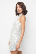 Lace & Beads Nadia Silver Mini Dress