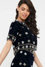 Lace & Beads Aia Navy Crop Top