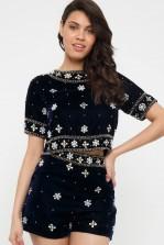 Lace & Beads Aia Velvet Navy Embellished Shorts