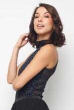 Lace & Beads Romeo Black Embellished Bodysuit