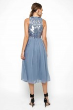 Lace & Beads Viva Embellished Sky Blue Midi Dress