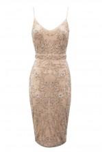Lace & Beads Fiona Embellished Nude Midi Dress