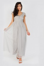 Lace & Beads Nemesia Embellished Grey Maxi Dress