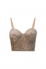 Lace & Beads Minnie Bustier Nude Sequin Top