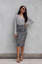 TFNC Rika Floral Black Midi Skirt