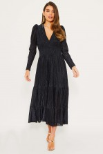 TFNC Kallista Black/Blue Maxi Dress