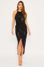 TFNC Tove Black Maxi Wrap Dress