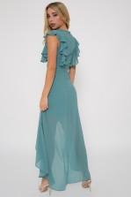 TFNC Nisha Native Green Hi-Lo Dress