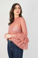 Lace & Beads Lunette Dusty Pink Top