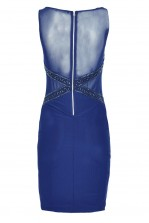 TFNC Hologram Navy Body Con Midi Dress