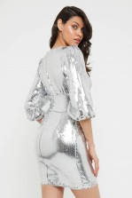 TFNC Lazuli Silver Sequin Mini Dress