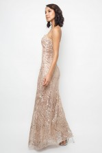 TFNC Gaynor Rose Gold Sequin Maxi Dress