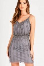 Lace & Beads Keeva Dark Grey Mini Dress