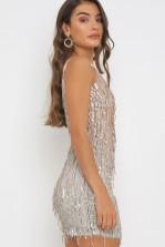 TFNC Nikin Nude/Silver Sequin Mini Dress