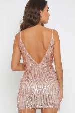 TFNC Nikin Nude Sequin Mini Dress