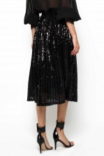 TFNC Boho Black Sequin Midi Skirt