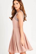 Lace & Beads Dunya Mauve Skater Mini Dress