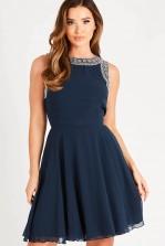 Lace & Beads Dunya Navy Skater Mini Dress