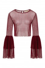 Lace & Beads Loon Burgundy Sheer Crop Top