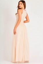 Lace & Beads Kahlo Nude Embellished Maxi Dress