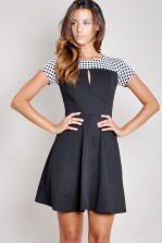 TFNC Gloria Houndstooth Skater Dress