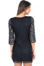 TFNC Scale Black Sequin Embellished Dress