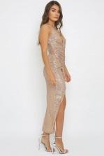 TFNC Sabbia Rose Gold Sequin Maxi Dress