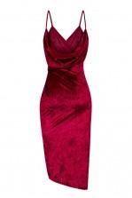 WalG Crushed Velvet Drape Back Berry Dress