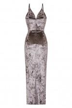 WalG Crushed Velvet Grey Maxi Dress