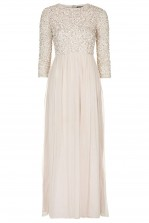 Lace & Beads Elle Nude Maxi Dress