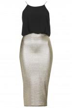 TFNC Agnes Gold Metallic Midi Dress