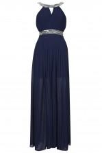 TFNC Bibione Navy Embellished Halter Maxi Dress