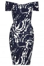 TFNC Jane Navy Paint Off Shoulder Midi Dress