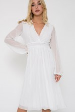 TFNC Samia White Midi Dress