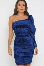 TFNC Zita Velvet Blue Mini Dress