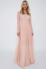 Lace & Beads Sila Embellished Pink Maxi Dress