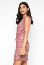 Lace & Beads Teardrop Dusty Pink Sequin Dress