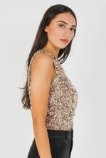 Lace & Beads Picasso Taupe Sequin Top