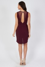 TFNC Adele Plum Sheer Wrap Dress