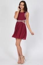 TFNC Malaga Ox Blood Embellished Cut Out Dress