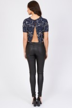 Lace & Beads Beatle Navy Top