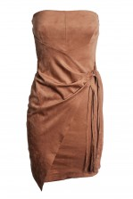 TFNC Noreen Suedette Tan Dress