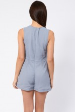 Lace & Beads Ink Grey Embellished Playsuit