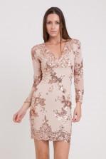 WalG Sequin V Neck Nude Midi Dress