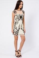 Lace & Beads Velentine Cream Embellished Dress