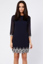 Lace & Beads Bell Navy Tunic Dress